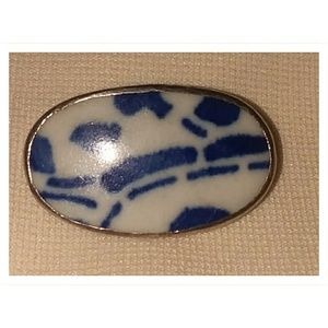 Jewelry - Antique Porcelain Dish 925 silver Brooch